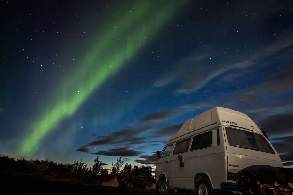 white van under blue sky