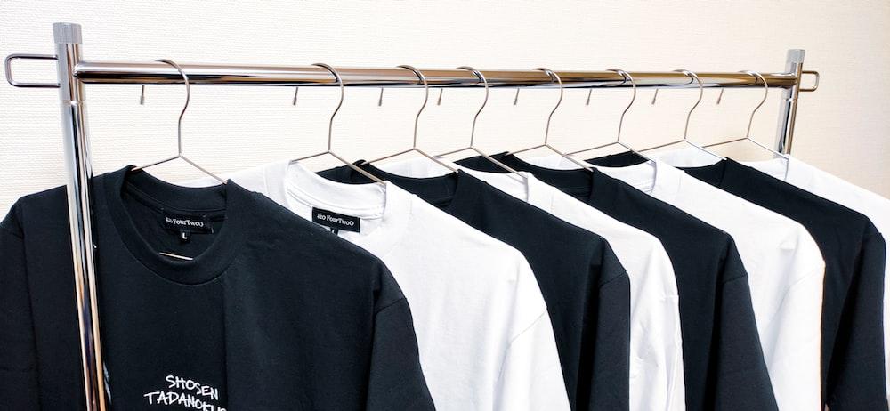 black and white long sleeve shirt
