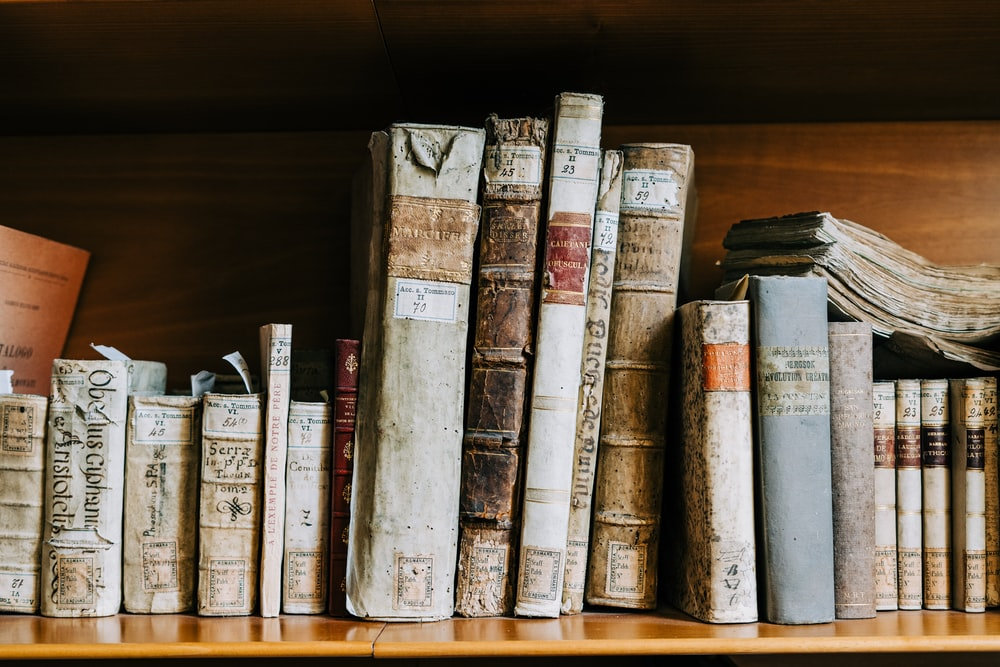 assorted books on brown wooden shelf