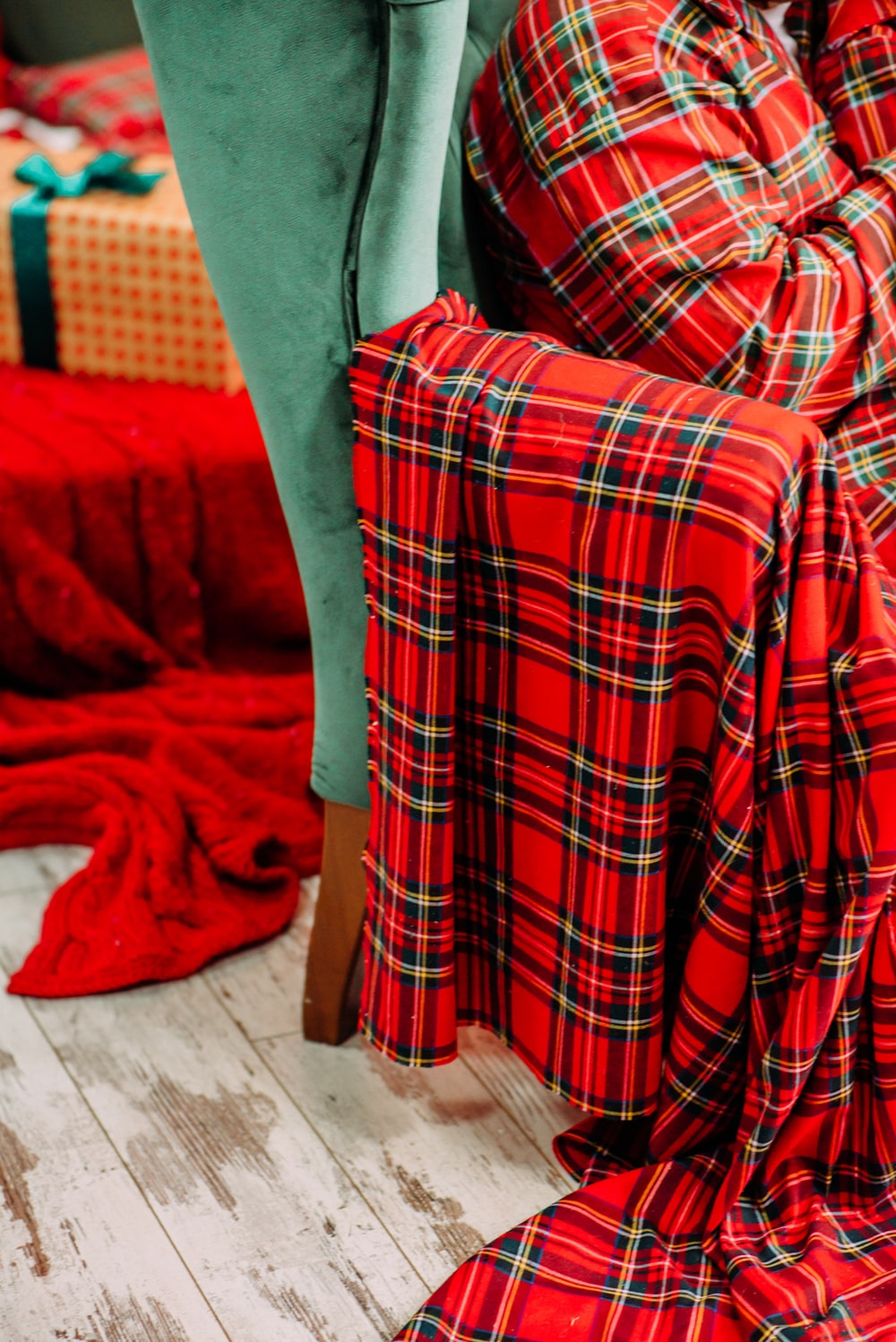 red and white plaid textile