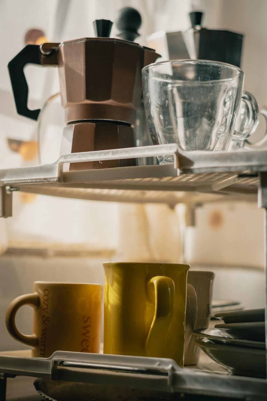 yellow ceramic mug on white table