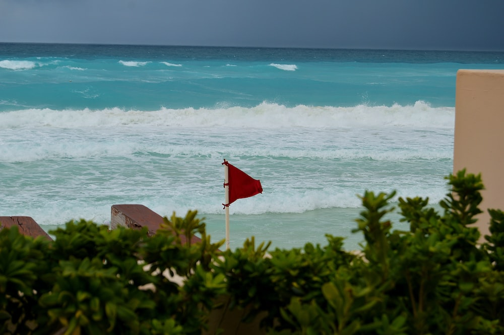 red flag on brown sand near body of water during daytime