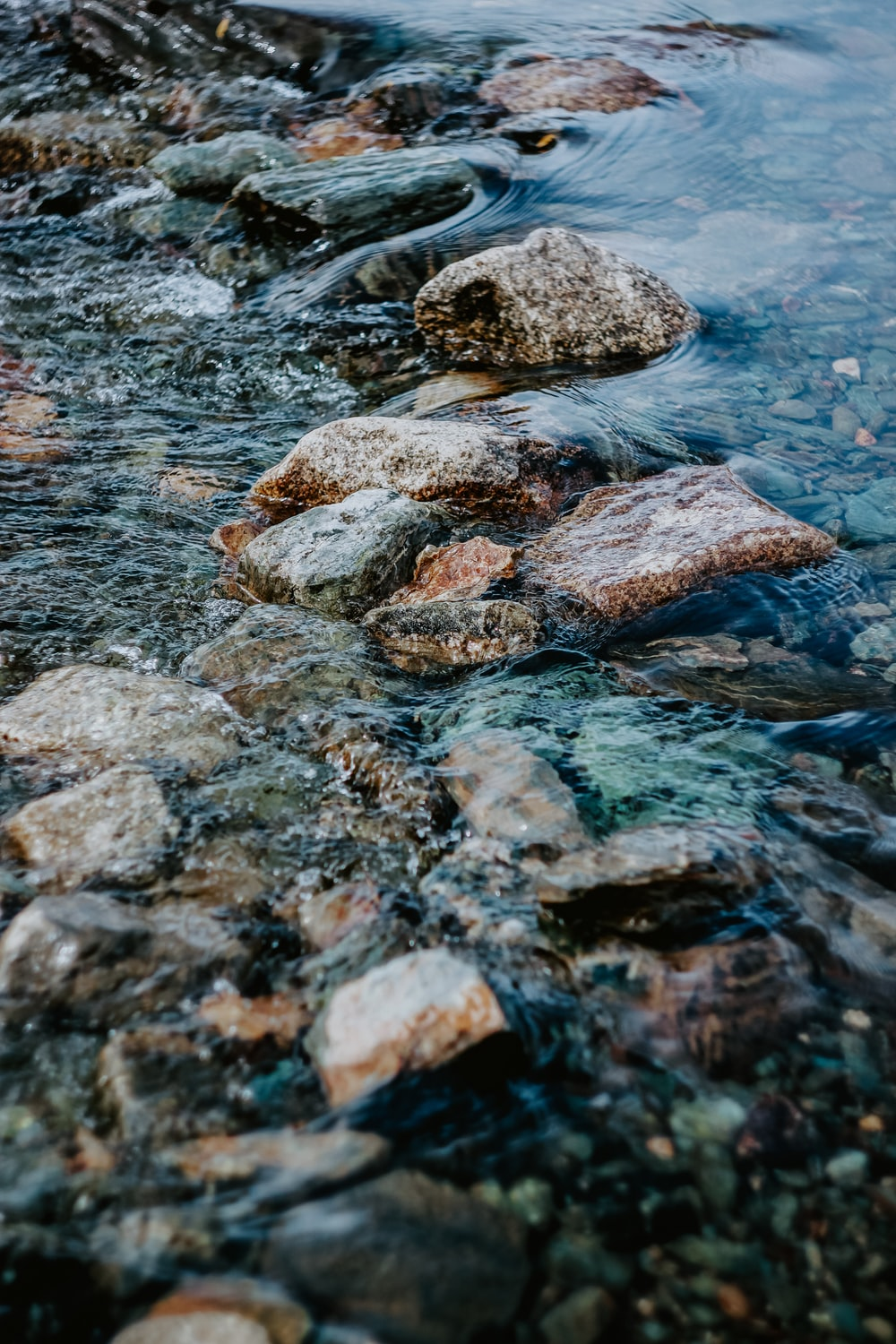 brown and gray rock on water