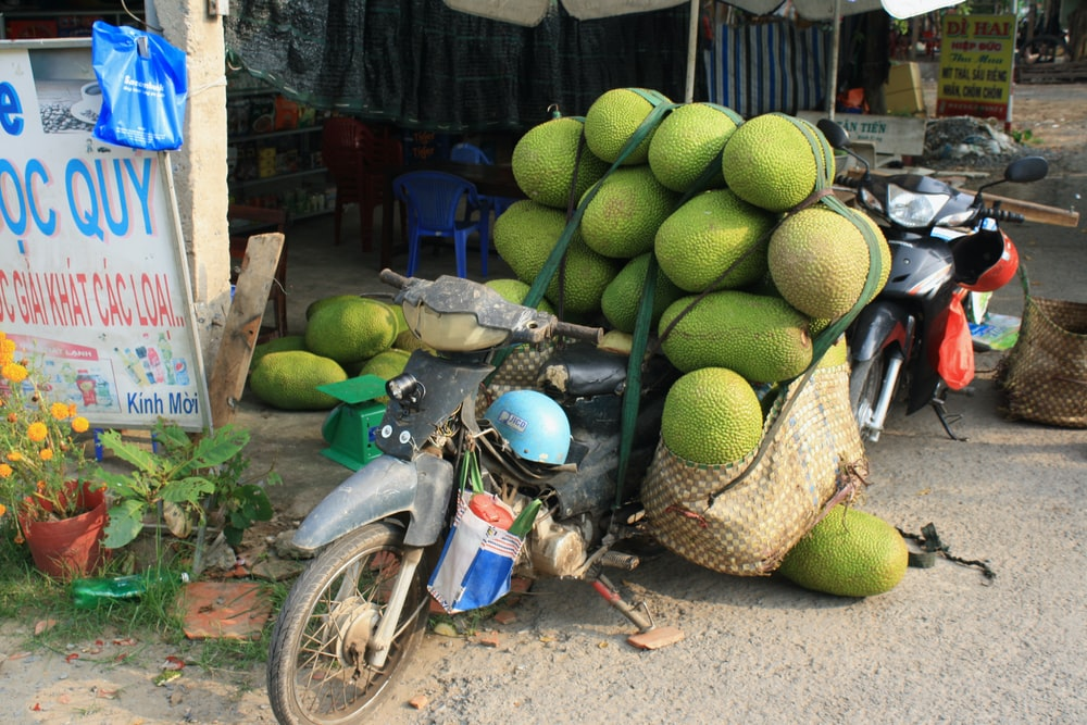 green fruits on red and black motorcycle
