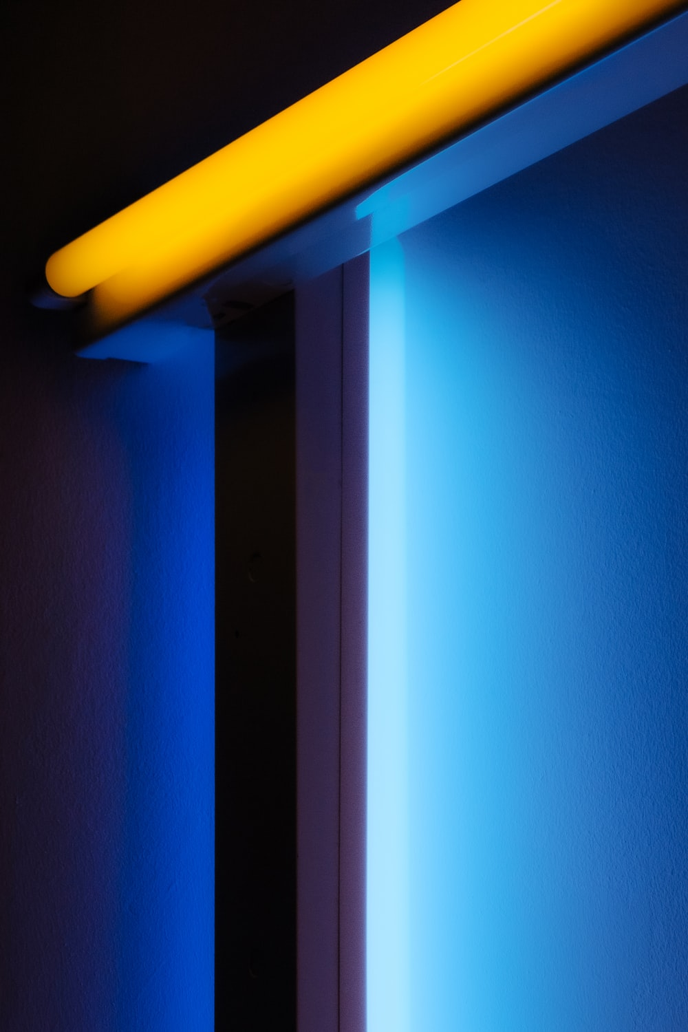 blue and yellow striped wall