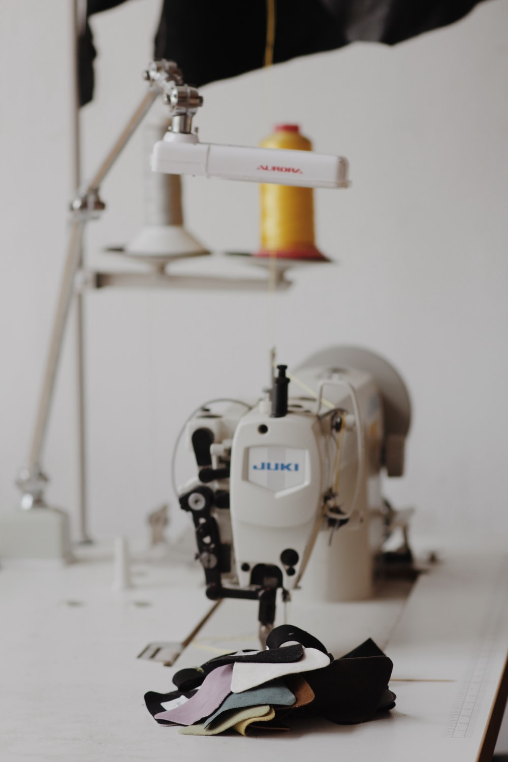 white and blue sewing machine