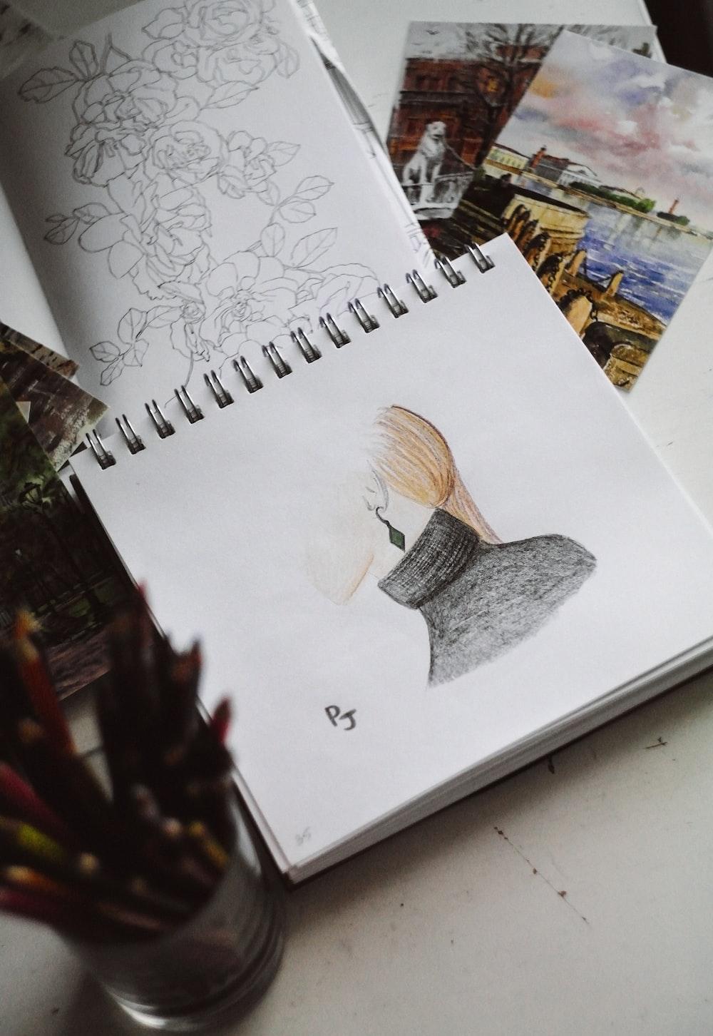 white and gray bird sketch