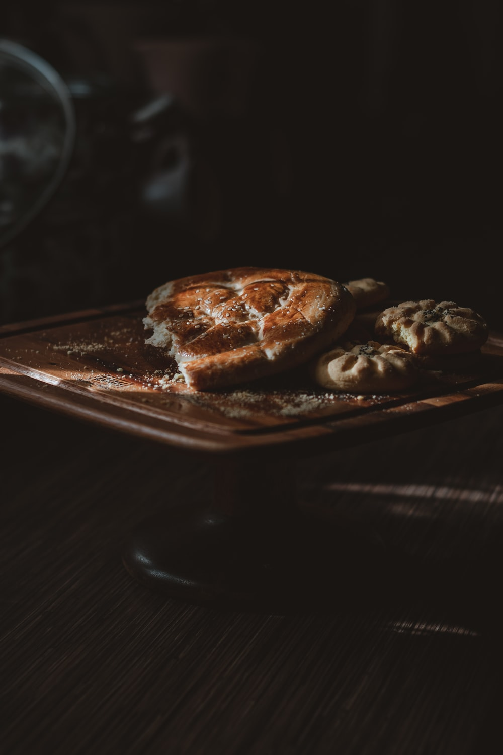 brown pastry on silver tray