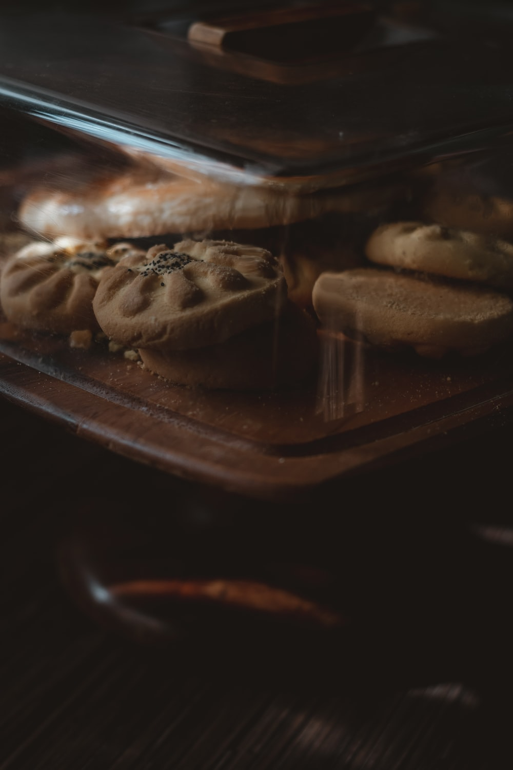 chocolate cookies in clear plastic container