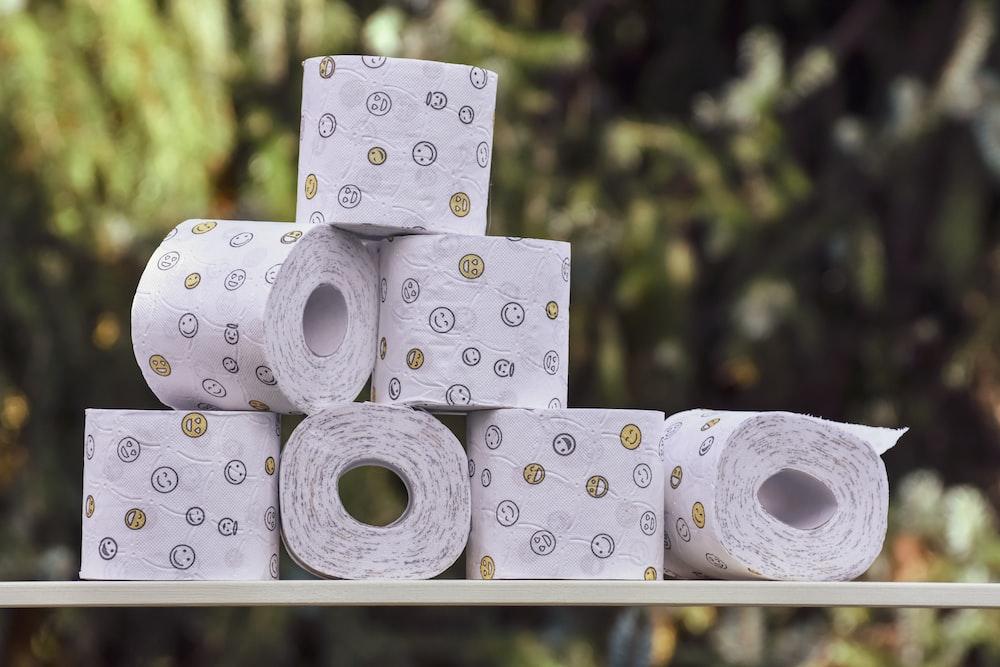 white and black polka dot tissue paper