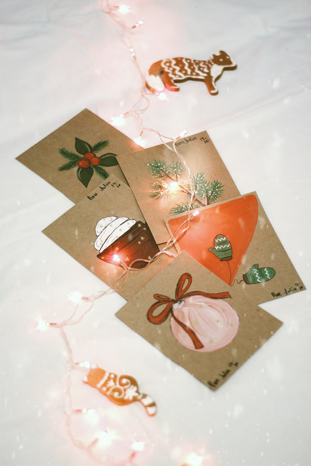 white and red floral card