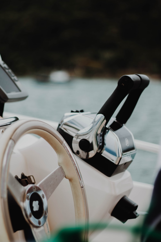 white and black steering wheel