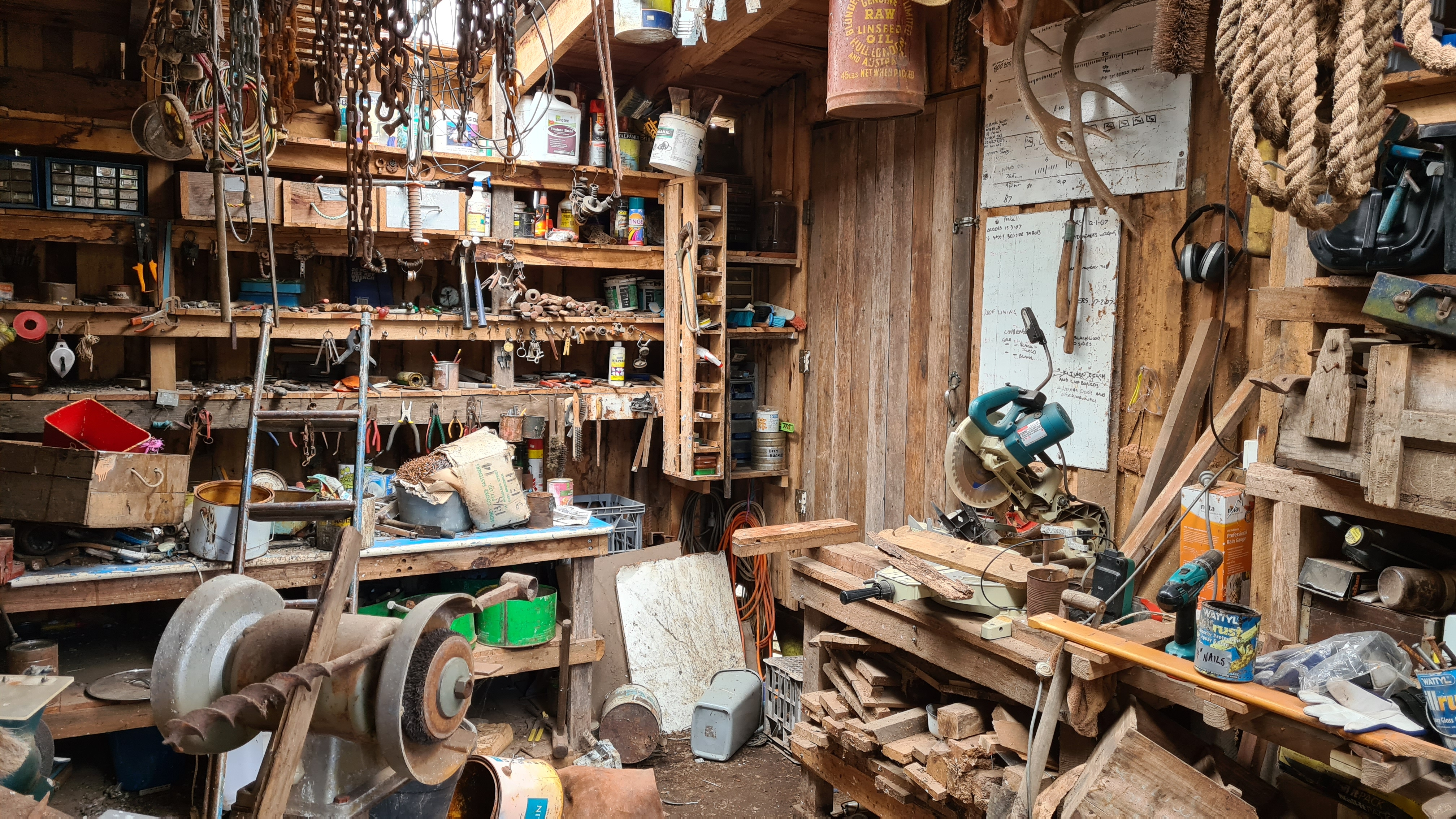 Workshop shed with tools