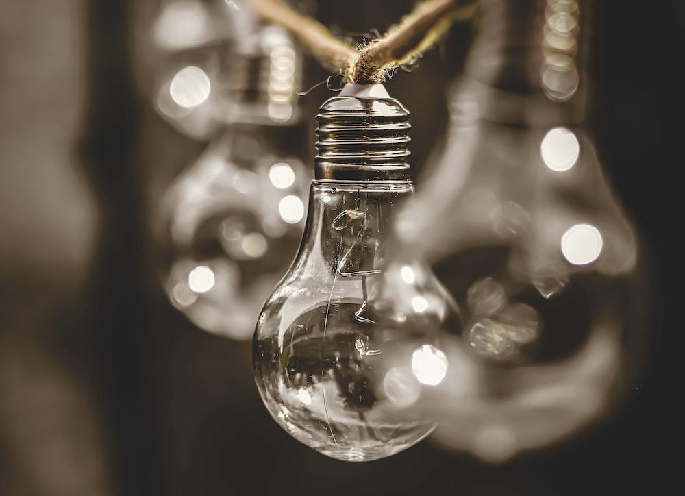 clear glass light bulb in tilt shift lens