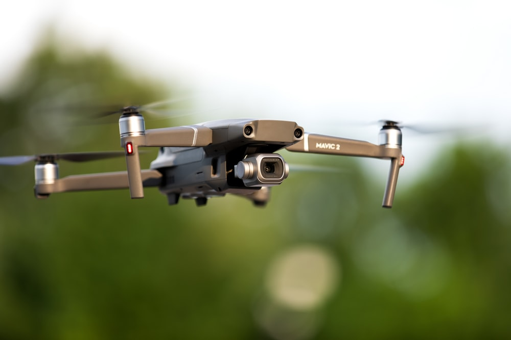 black and gray drone in tilt shift lens