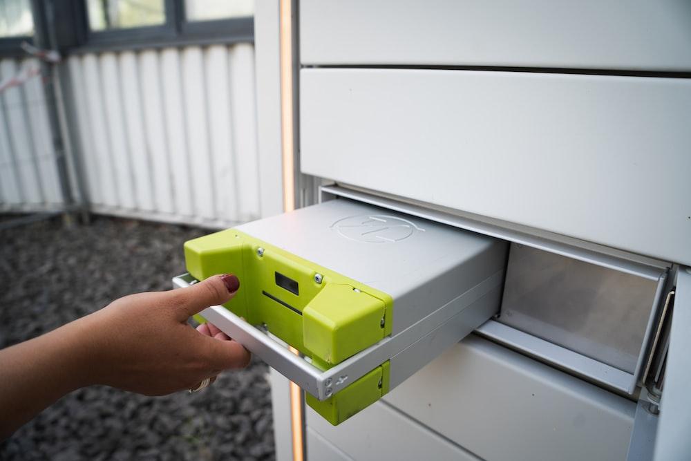 green and white plastic box