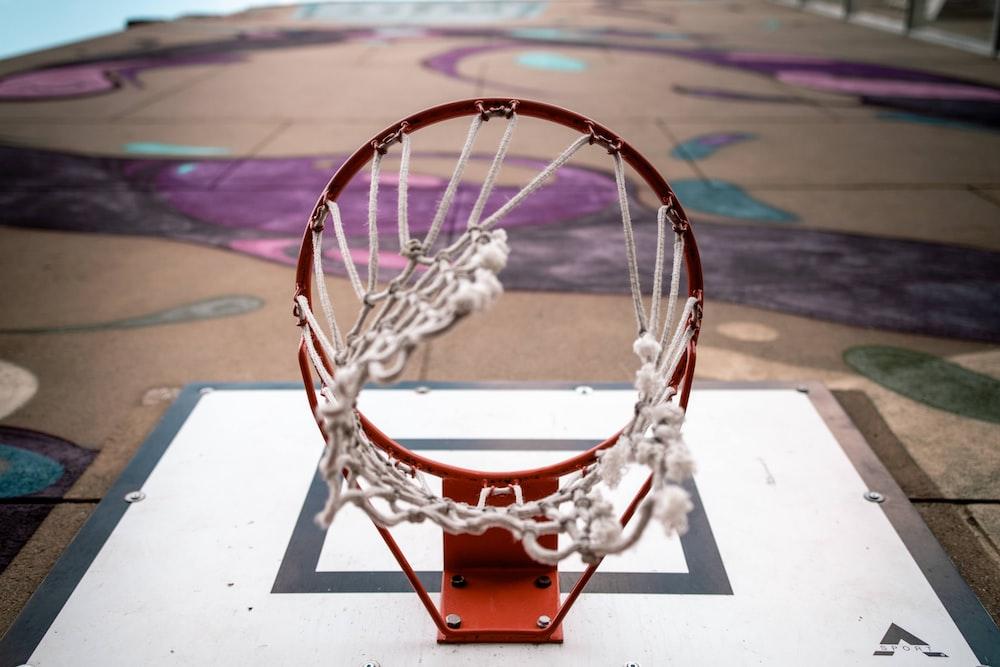 brown and white basketball hoop