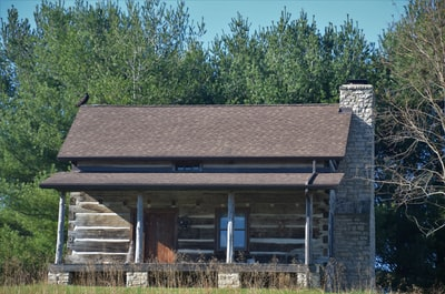 brown and gray wooden house near green trees during daytime log cabin zoom background