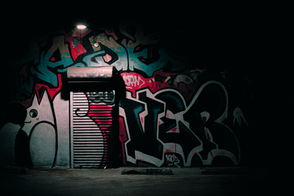 black and red graffiti art