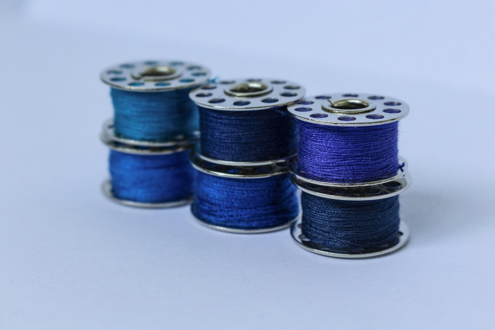 blue and silver round coins