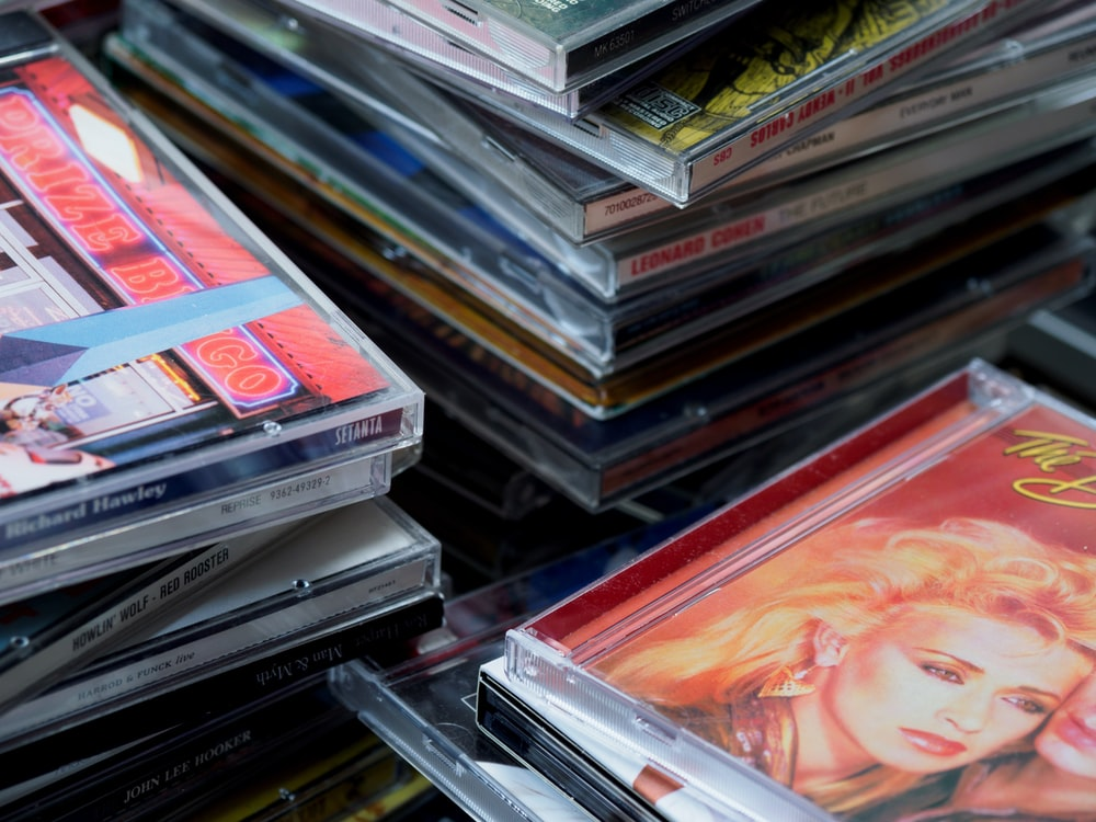 cd case collection on shelf