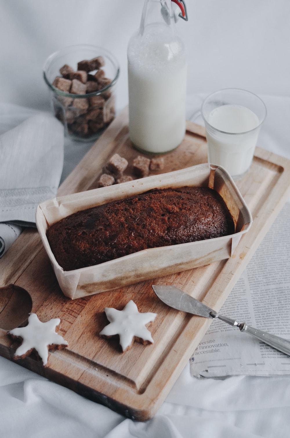 brown bread on white rectangular tray
