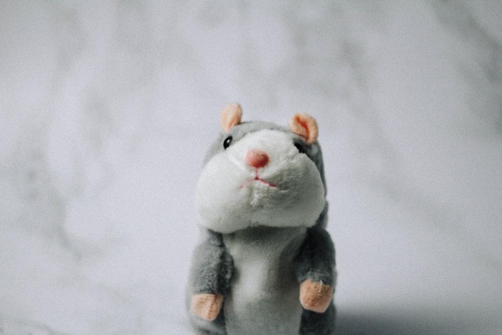 gray and white animal plush toy
