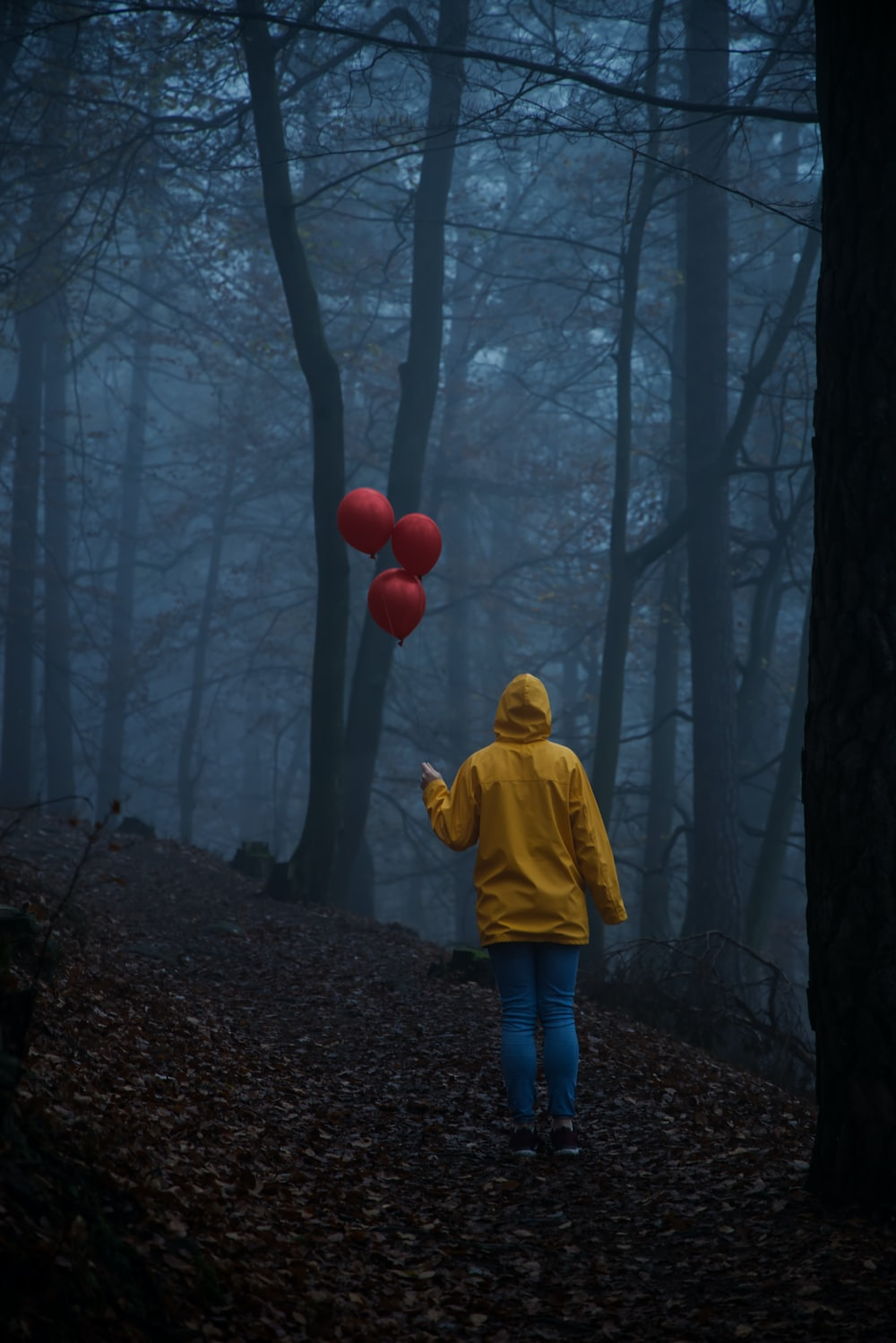 child in yellow hoodie standing on forest during daytime
