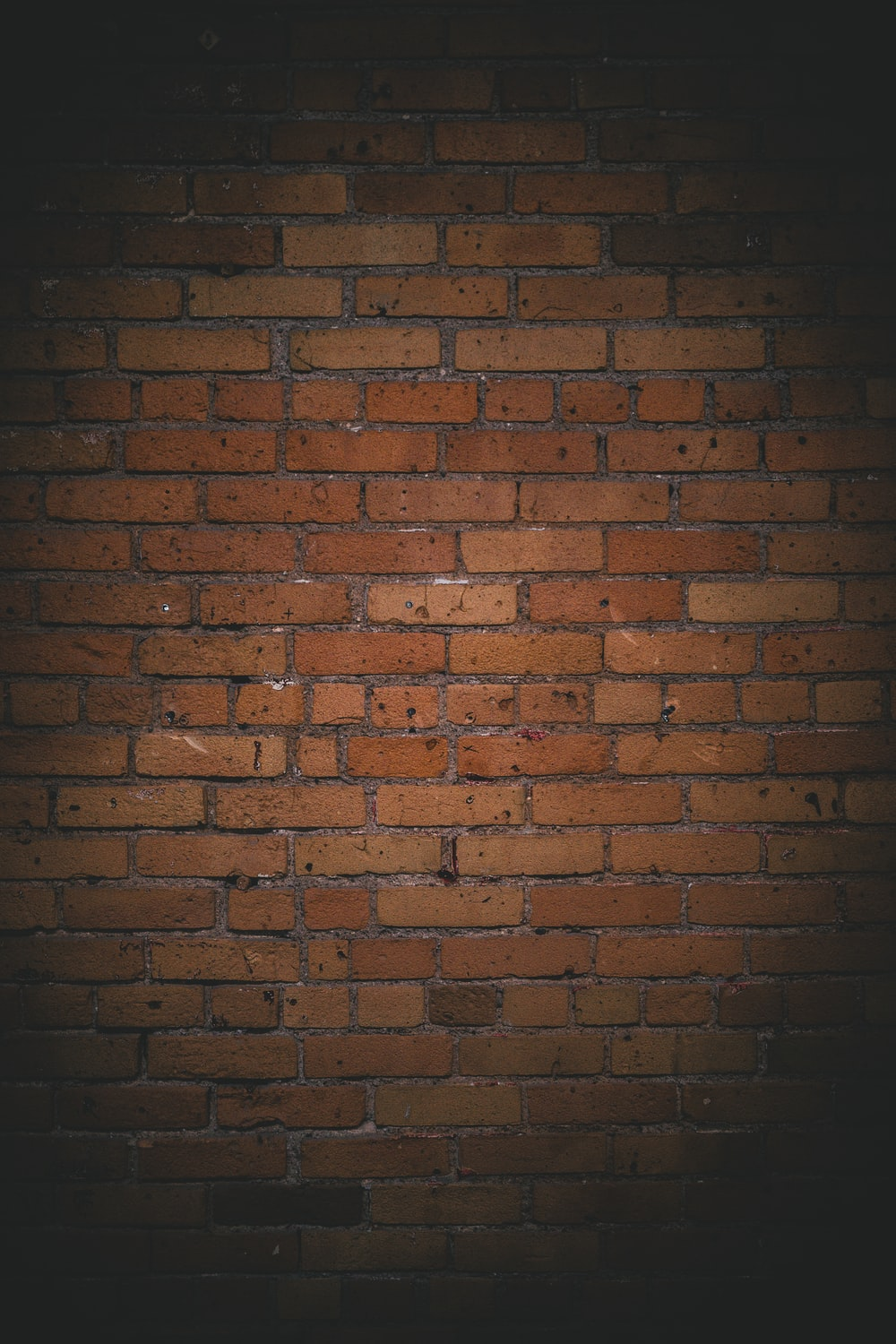 brown brick wall during night time