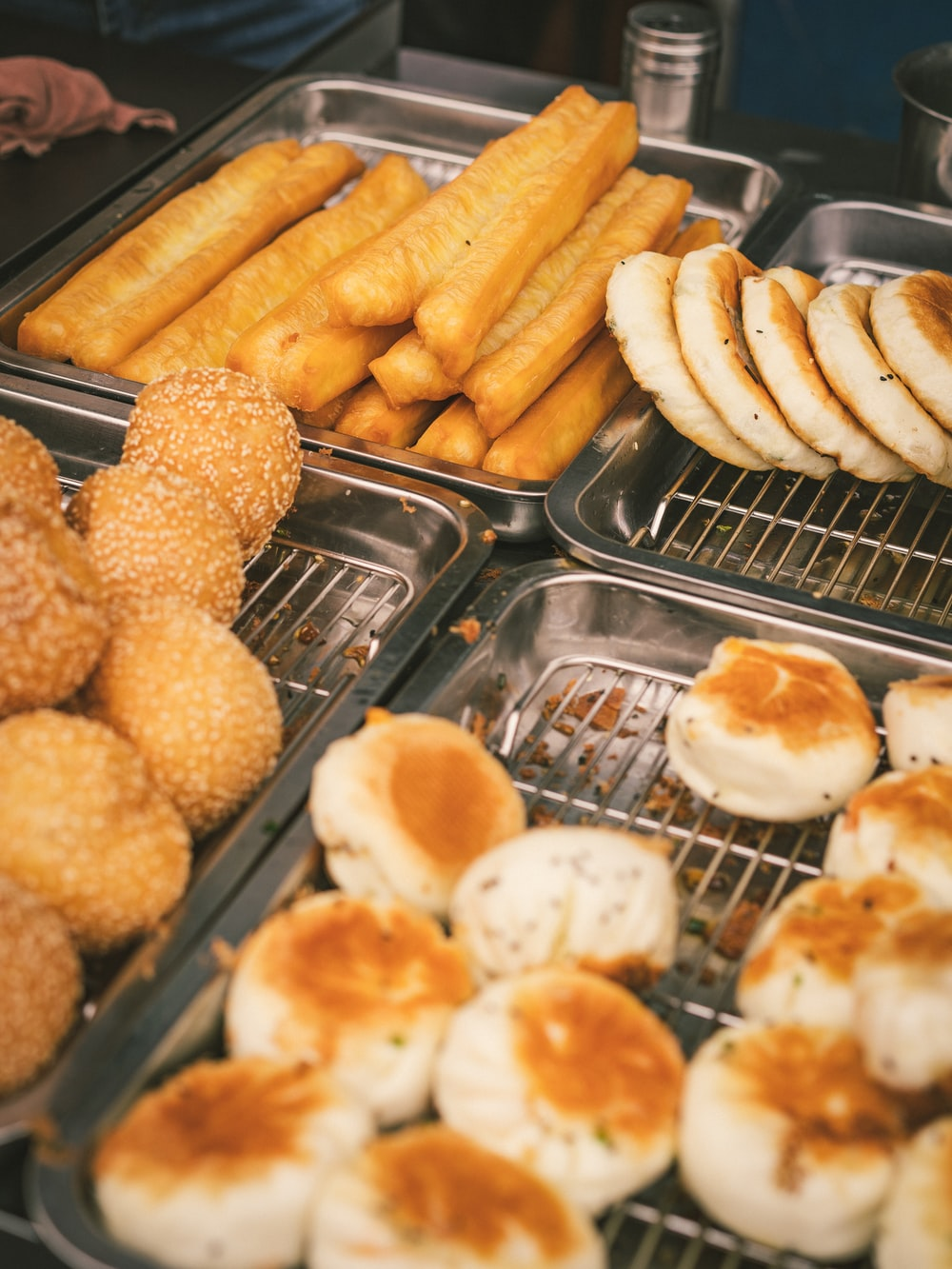 fried food on stainless steel tray