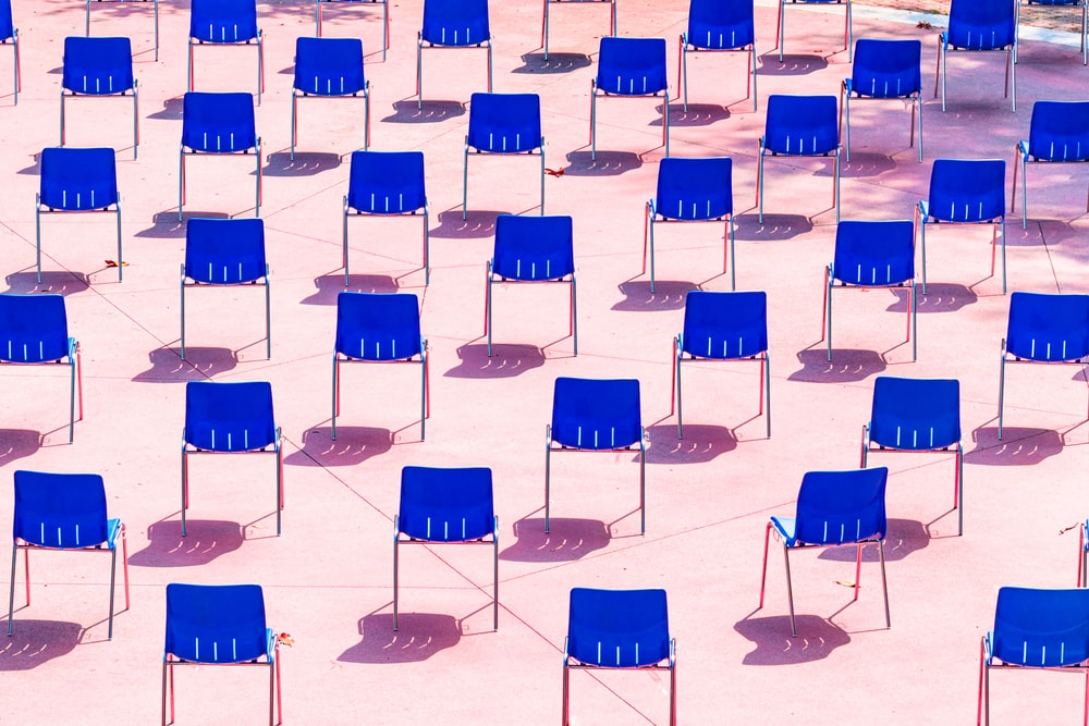blue and white plastic chairs