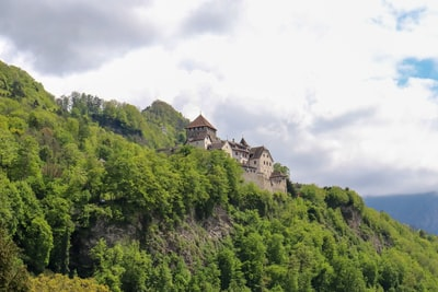 white and brown concrete building on top of green mountain liechtenstein teams background