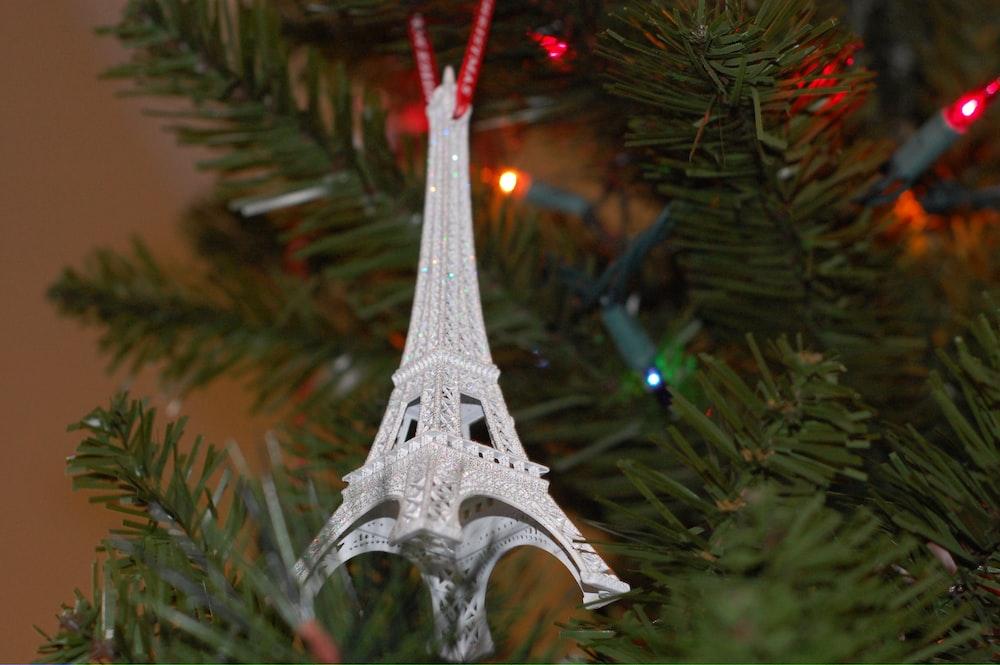 silver eiffel tower christmas tree ornament