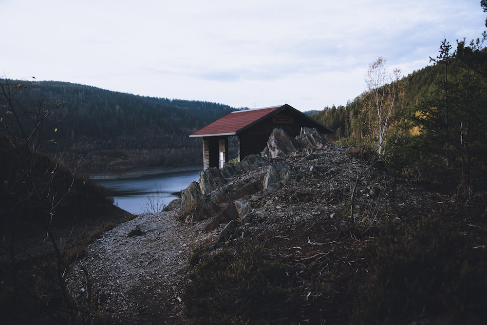 brown wooden house near lake under white clouds during daytime