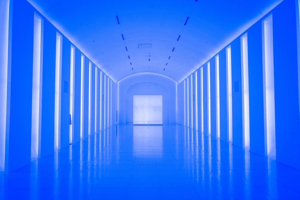 blue hallway with blue lights