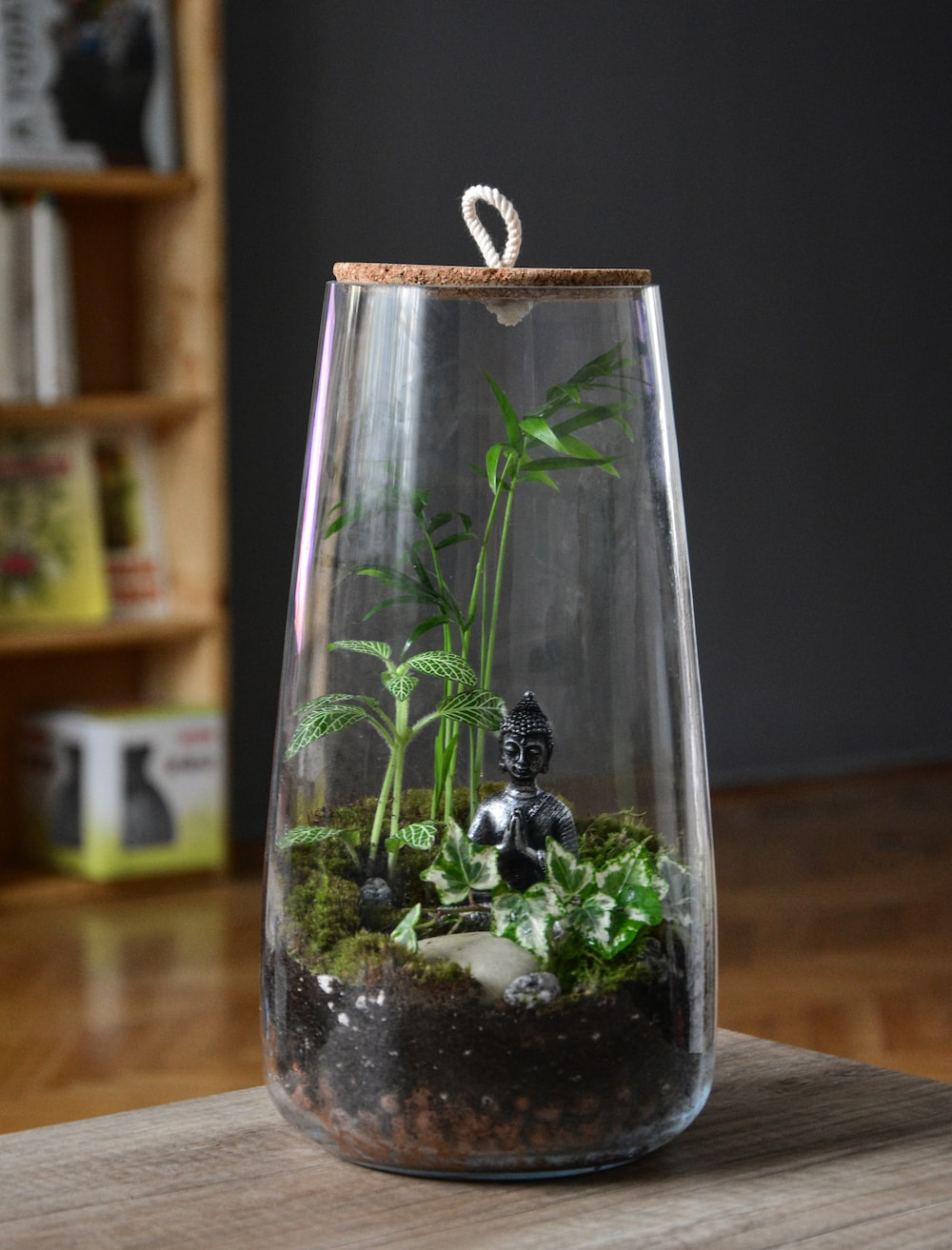 clear glass bottle with green plant