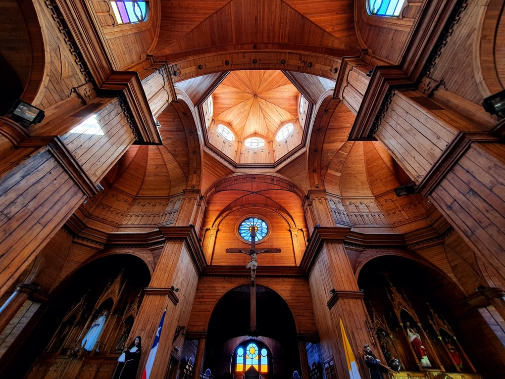 brown wooden ceiling with light fixture