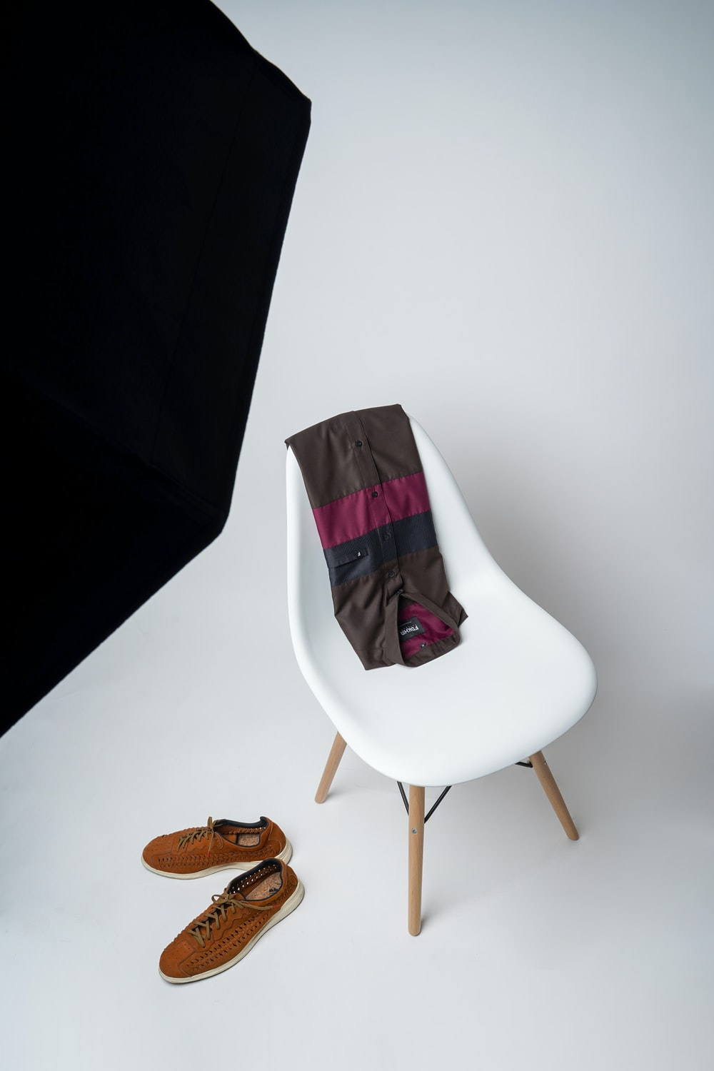 white and red padded chair