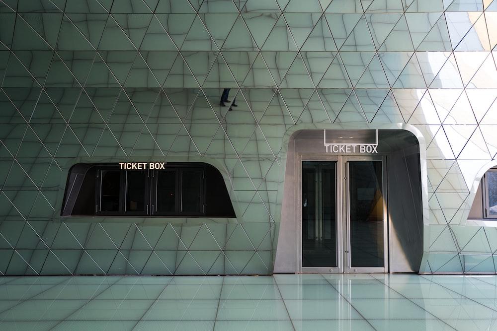 white and black glass door