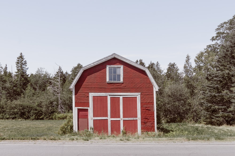 red and white wooden barn house near green trees under white sky during daytime