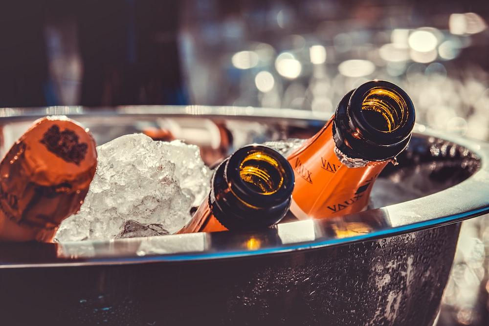 coca cola bottle on ice bucket