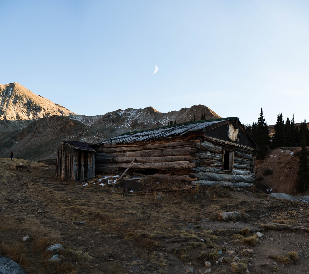 brown wooden house near green trees and mountain during daytime