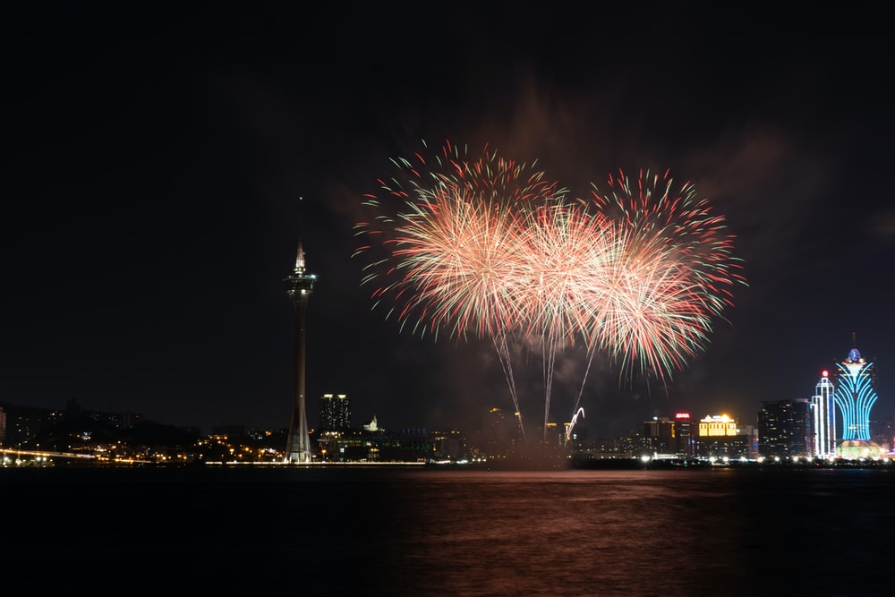 fireworks display over body of water during night time