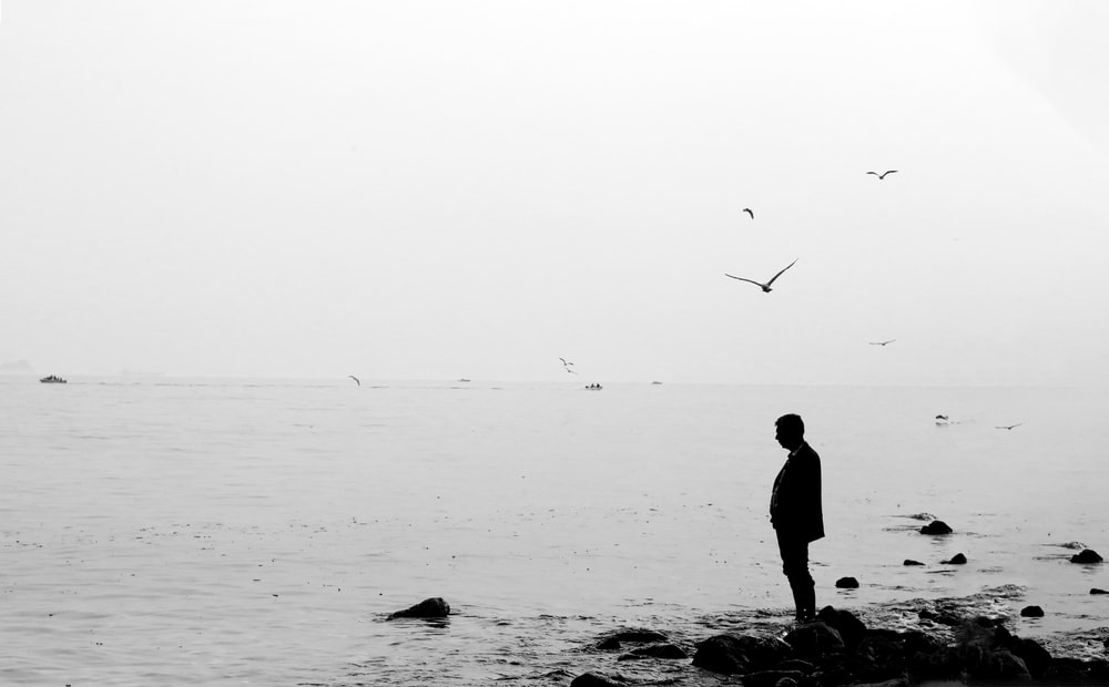 silhouette of man standing on rock near body of water during daytime