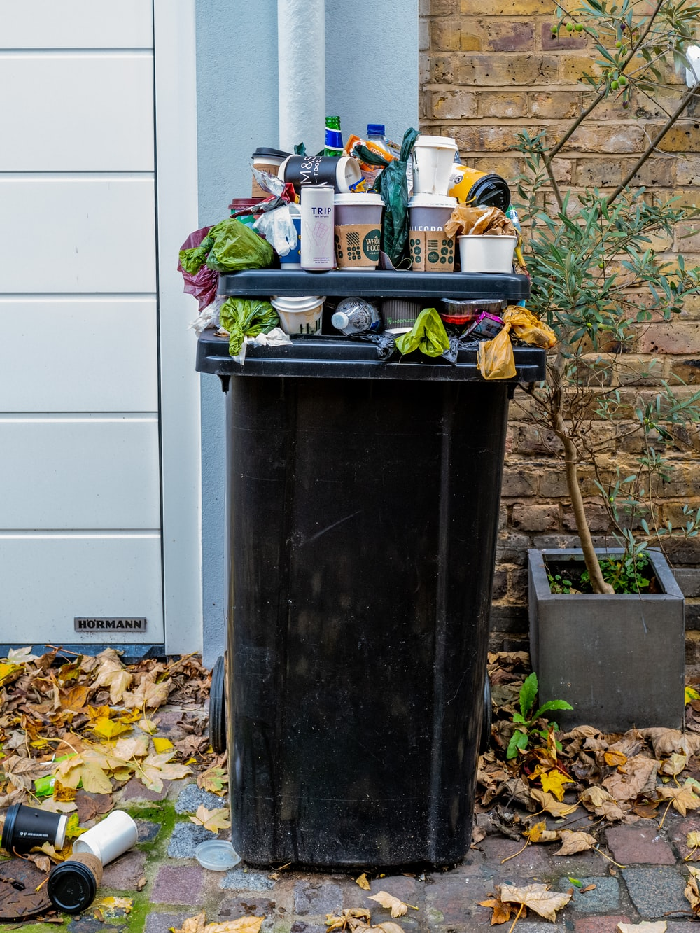 black trash bin with green leaves