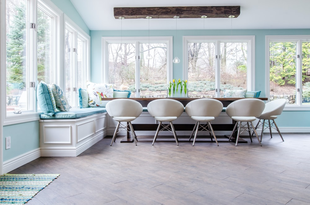 white and gray bar stools