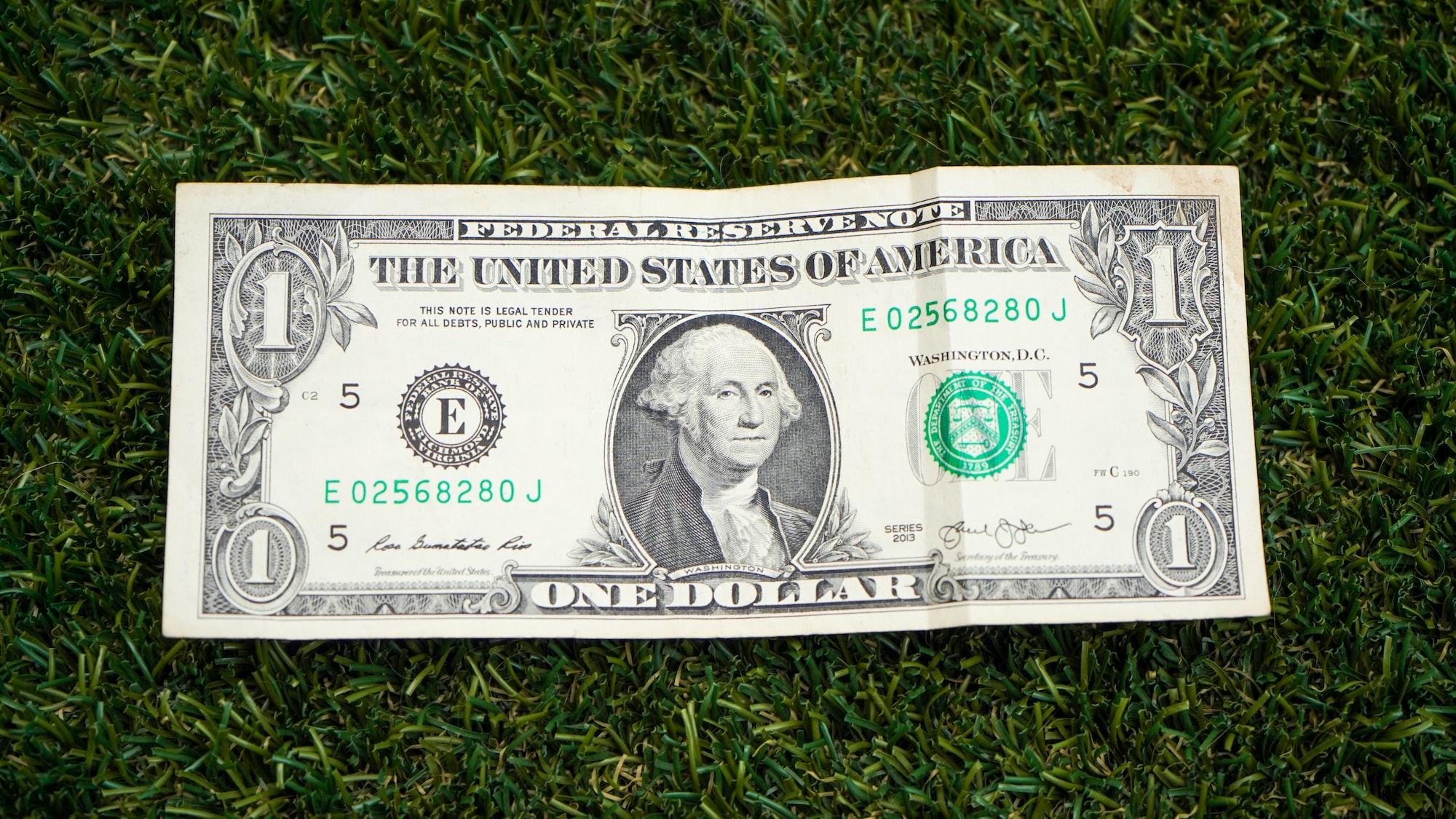 One American dollar bill on the fake grass field.
