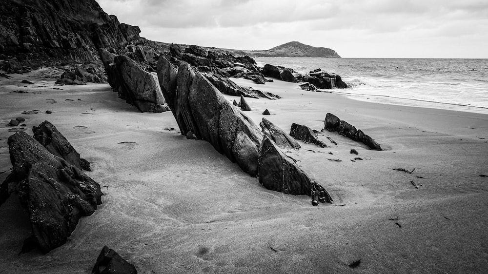 grayscale photo of rocky beach