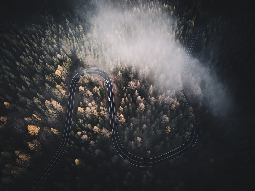 aerial view of road during night time