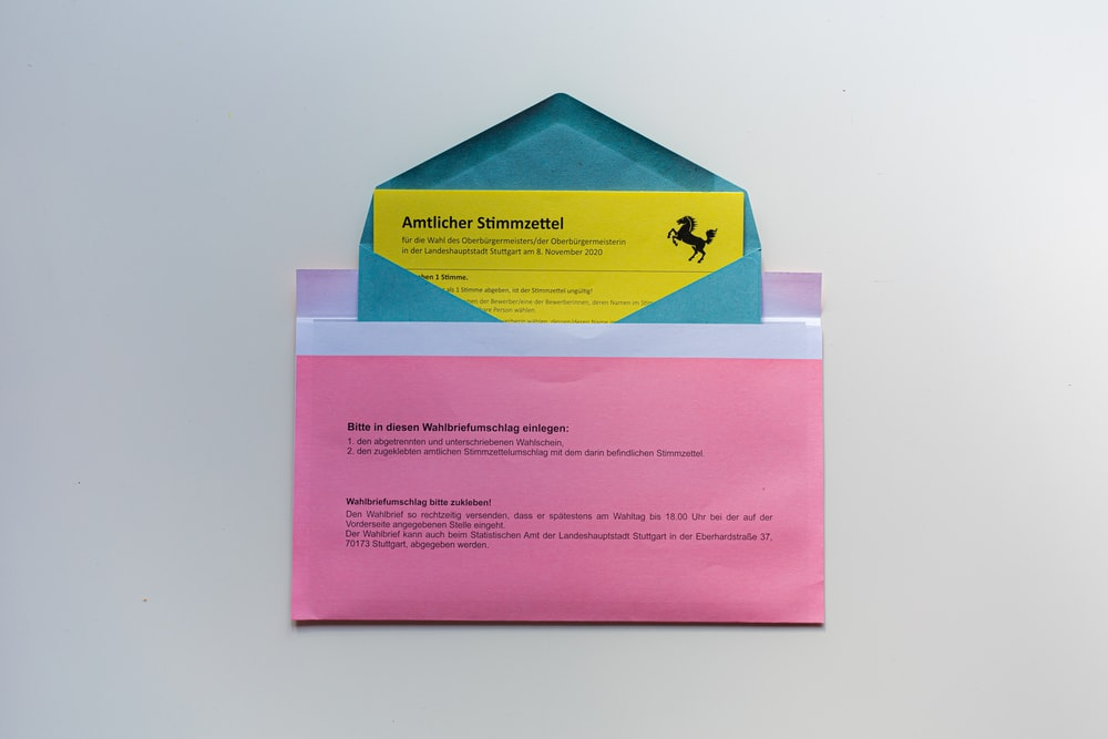 pink blue and yellow cards